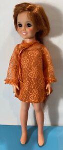 Vintage Ideal Crissy Doll Growing Hair 1969 Original Orange Lace Dress