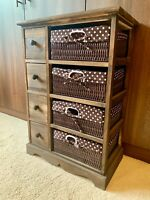 Wicker Basket Drawers Storage Unit Bedside Table Chest Of Drawers Ready Assembly