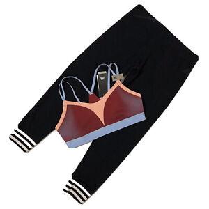 Adidas Women's Black Leggings/AM Bra Top Set workout outfit Gym Set Sport Sz L