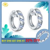Natural Purple Tanzanite Hoop Huggie Earrings 925 Sterling Silver Jewelry Women