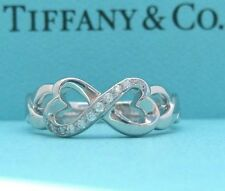TIFFANY & Co. 18K White Gold Paloma Picasso Diamond Double Loving Heart Ring 6