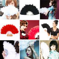 Beauty Fluffy Lady Burlesque Wedding Hand Fancy Dress Costume Dance Feather Fan