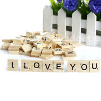 100 Wooden Alphabet FOR Scrabble Tiles Black Letters & Numbers For Crafts WoodSI