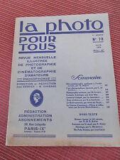 REVUE LA PHOTO POUR TOUS - REVUE D'ART N 78 année 1930 ( ref 48 )