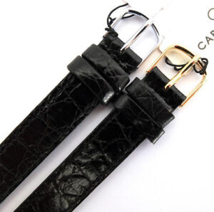 14mm 1 PIECE BLACK CABOUCHON WATCH STRAP.  CROC GRAIN LEATHER GOLD or SILVER