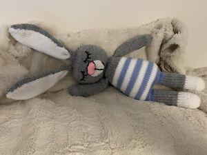 Handmade Hand Knitted Sleeping Bunny / Rabbit Stuffed Toy / Baby Gift