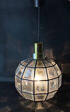 RARE » Limburg» Lampe lustre suspension quadrillée en vitrail Vintage 1960-70