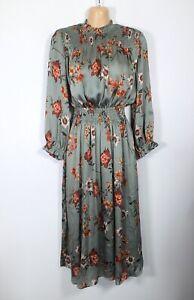 ZARA green & orange vintage floral long-sleeve high-neck midi dress, M/10-12