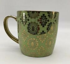 Bowring Coffee Mug Light Green With Gold Design 3 1/2""