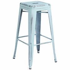"""Tolix Style Outdoor Metal Backless 30"""" Bar Stool Distressed Dream Blue"""