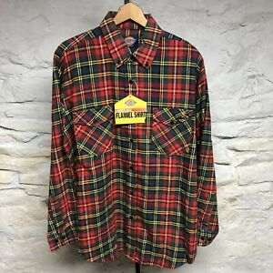Vintage 90s Dickies Lumberjack Red Flannel Shirt Mens Size Large New W Tags