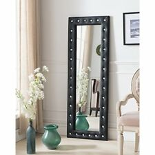 Leaning Floor Mirror Full Body Modern Faux Leather Tufted Crystal Buttons Black