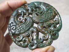 Pendentif Bouddhiste Ancien Sculpté en Jade Verte !!   59,5 g !!!  ( Sichuan )