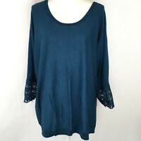 Talbots Woman Women's Sweater Size 3X Blue Lace 3/4 Sleeve Casual