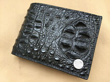 Handmade Black Genuine Alligator, CROCODILE Leather Skin MEN'S Bifold Wallet