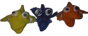 3 Monster Finger Puppets Vintage Rubber ; Vending Gumball Toy Jigglers Uglies