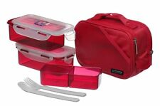 Lock & Lock Bento Lunch Box Set w/spoon&fork Insulated Bag Large HPL762DR Red