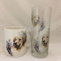 GOLDEN RETRIVER   MUG AND MATCHING TALL HIGHBALL GLASS