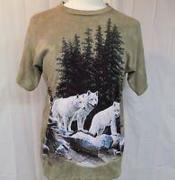 THE MOUNTAIN Men's T-shirt 3 White Wolves Tan Size M Short Sleeve Cotton