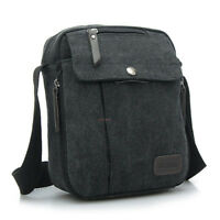 Men's Military Vintage Canvas Leather Satchel Shoulder Bag Messenger School Bag