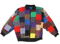 Vintage Patchwork 70s  80s Mens Reversible Zip Front Bomber Jacket size XXL