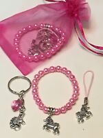Unicorn Party Bags Favours, Pre Filled Pink Party Bags, HANDMADE, GLASS BEADS