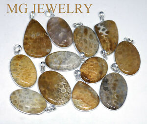Natural Fossil Coral Gemstone 925 sterling silver Overlay wholesale lot pendants