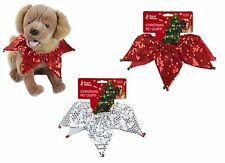 Sequin Dog Christmas Collar with Jingle Bells Silver or Red Xmas Pet Cat Sparkly