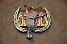 Great American Double Horseshoe  Enamel Belt Buckle