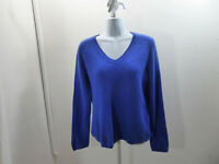 100% Cashmere Sweater Size XL Blue V Neck Womens Charter Club 40 Chest Jumper