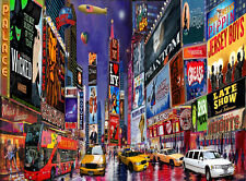 "Times Square New York Broadway Musicals Painting on Giclee canvas 16""x20"" New"
