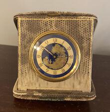 Circa 1930s Art Deco German Travel Clock Blue Gold Dial Farmhouse Design Germany