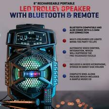 More details for bluetooth wireless portable karaoke machine led trolley party speaker mics song
