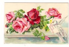 Loving Greetings, Roses, Dove, Antique Embossed Postcard
