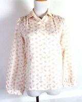 vtg 60s 70s PS Kevin Stuart ladies White Pink Paisley Blouse Shirt Top sz 8