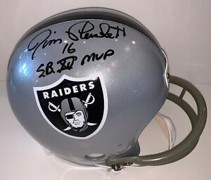 """Raiders Jim Plunkett """"SB XV MVP"""" Signed TB Full Size Rep Helmet JSA Witnessed"""