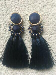 Beautiful TU statement tassel navy blue earrings