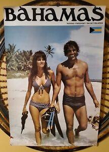 Vintage BAHAMAS Travel Tourism Poster ~ Snorking Couple ~ 28x42 FANTASTIC!