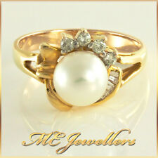 Solid 14K Yellow Gold Akoya Cultured Pearl Dress Ring With Diamonds 14ct SzL 1/2