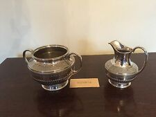 BEAUTIFUL EPBM VICTORIAN DECORATIVE AND RIBBED MILK JUG & SUGAR BOWL FOOTED