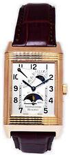 Jaeger LeCoultre Reverso Sun Moon 18k Rose Gold Watch & Box 270.2.63