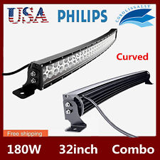 Curved 32inch 180W LED Light Bar S&F Combo Driving OffRoad Truck 4WD ATV PK SLIM