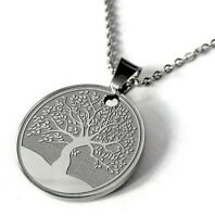 Engraved Necklace Pendant Personalized Name Gift Chain Stainless Tree Women Men