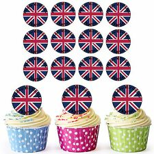 Great Britain Flag 24 Personalised Pre-Cut Edible Birthday Cupcake Toppers