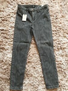 River Island Molly Mid Rise Jeggings, grey print, Size 12S. BNWT