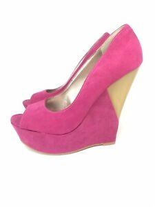QUPID Pink Open Toe Wedge Shoe Heels Toe Size 7.5