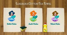 PERSONALISED TEA TOWEL 100% COTTON MERMAID DESIGN PINK YELLOW GREEN PURPLE BLUE