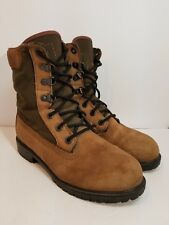 Rocky Brown Leather Green Canvas Boots Outdoor Hunting Hiking Men's 7.5 M