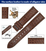ZLIMSN Genuine Crocodile Alligator Fashion Leather Watch Band Strap Belt 12-24mm