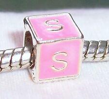 Alphabet Letter S Initial Pink Enamel Cube Bead Gift for European Charm Bracelet